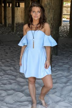 Costa Mesa Baby Blue Woven Dress
