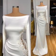 Sexy Formal Dresses, Floral Evening Dresses, White Evening Gowns, Long Sleeve Evening Dresses, Mermaid Evening Dresses, Wedding Dresses, Long Sleeve White Gown, Custom Dresses, Beautiful Gowns