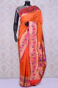 Burnt orange appealing paithani saree with multicolor border-SR20129 - Pure Banarasi - PURE HANDLOOM SILK SAREE - Sarees Kanchipuram Saree, Banarasi Sarees, Indian Silk Sarees, Indian Textiles, Indian Weddings, Saris, Saree Wedding, Burnt Orange, Indian Wear