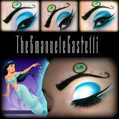 A crystal accented eye brow enhances artistic eye make-up inspired by Disney's Princess Jasmine. Disney Inspired Makeup, Disney Makeup, Disney Nails, Jasmine Makeup, Face Rhinestones, Jewel Makeup, Jasmine Costume, Disney Princess Jasmine, Party Eyes