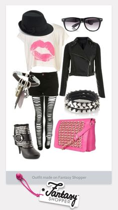 Outfit created on Fantasy Shopper featuring a smoochy Statement Tee and grungy leather biker jacket #grunge #style #loveit