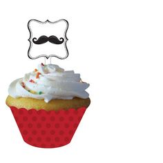 Moustache Madness Cupcake Wraps With Toppers Pk 12