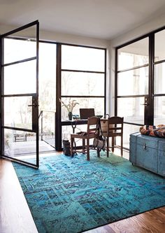Remembrance Teal Carpet Tiles by Flor - Floor Tiles Teal Carpet, Carpet Tiles, Rugs On Carpet, Modern Rugs, Modern Decor, Floor To Ceiling Windows, Huge Windows, Interior Decorating, Interior Design