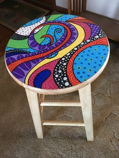 15 ideas for painted wicker furniture to decorate your home Futuristic Cool Painted Stool Inspirations - futuristic architectureWonderfully painted stool paintedfurniture Whimsical Painted Furniture, Hand Painted Furniture, Funky Furniture, Colorful Furniture, Furniture Ideas, Hand Painted Chairs, Painted Tables, Painted Wicker, Furniture Chairs