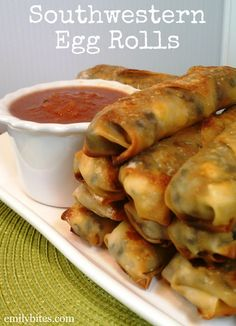 Skinny Southwestern Egg Rolls ~ Corn, spinach, black beans, seasonings in a wonton wrapper and baked