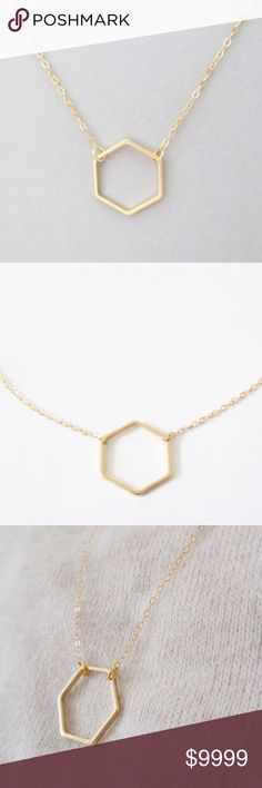 Dainty Hexagon Necklace Pendant Dainty Hexagon Necklace Pendant golden threads Jewelry Necklaces
