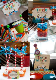 Tickle Monster themed birthday party with SO MANY CUTE IDEAS! Via Kara's Party Ideas KarasPartyIdeas.com #monster #tickle #themed #birthday #party #ideas #supplies #idea