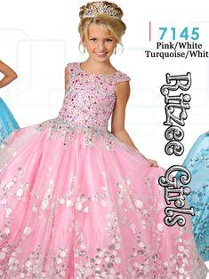 Ritzee Girls 7145 Cap Sleeves Ball Gown Dress|PageantDesigns.com