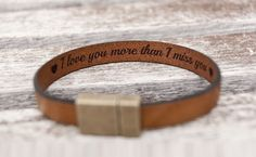 Hidden Secret Message Personalized Leather Bracelet