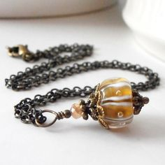 Beaded Jewelry Mustard Yellow Lampwork Bubble Glass Bead Pendant Necklace Vintage Style Beaded Necklace in Antiqued Bronze