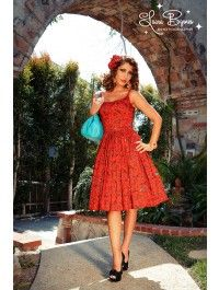 Jenny Dress in Red Vintage Spanish Fan Print