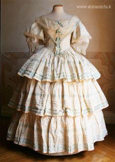 Pastel stripe silk ballgown, ca. 1858.   In the Swan's Shadow