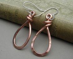 Copper Teardrop Earrings  Dangle Earrings by nicholasandfelice
