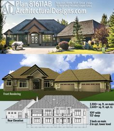 Architectural Designs House Plan 81611AB is designed for your rear-sloping lot. It has 3 beds on main and 2 more in the optional finished lower level, and amazing views to the back. Ready when you are. Where do YOU want to build?
