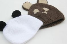 DIY How to knit hat with ears for baby (panda) Baby Knitting, Crochet Baby, Tricot Baby, Ear Hats, Baby Boy Outfits, Knitted Hats, Winter Hats, Embroidery, Sewing
