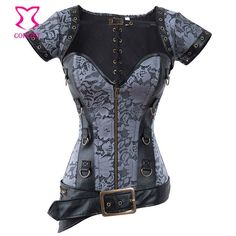Brown Gothic Sexy Zipper Waist Trainer Corsets And Bustiers Vintage Burlesque Espartilhos Corset Corselet Steampunk Clothing