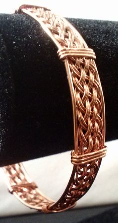 """6.5"""" Handmade Copper Woven Wire Wrapped Bracelet, Wire Wrapped Jewelry, Copper…"""