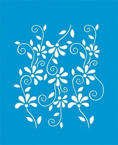 21cm x 17cm Reusable Flexible Plastic Stencil for Graphical Design Airbrush Decorating Wall Furniture Fabric Decorations Drawing Drafting Template - Flowers Leaves