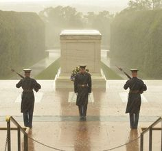 My dedication to this sacred duty  is total and whole-hearted.  In the responsibility bestowed on me  never will I falter.    The Sentinel's standing guard at the Tomb of the Unknown Soldier during Hurricane Sandy