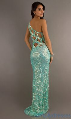 One Shoulder Sequin Open Back Gown by Primavera - Simply Dresses