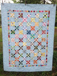 "• A clever way to use your smallest scraps, or new fabrics, and to always have a baby gift ready. • Pattern uses only squares and easy borders. • Easy enough for beginners. • I cut and save small squares from other projects as I go and make this quilt when I have enough. • Size 39""x51"""