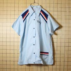 古着 70s 80s USA製 Hilton ヒルトン ボウリングシャツ チェーンステッチ 半袖 バックプリント ライトブルー メンズM