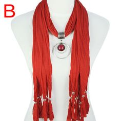 Fashion New Red Vintage Jewelry Necklace Scarf with Resin Pendant, NL-1622