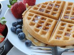 Gluten-Free Waffles. I subbed flax + water for egg and soy milk + vinegar for buttermilk. They turned out fluffy with a crisp outside. Didn't stick to the (greased) waffle iron. Amazing!