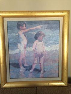Rare Vtg Impressionism American lithograph print of boys by Dan Mccaw signed   | eBay