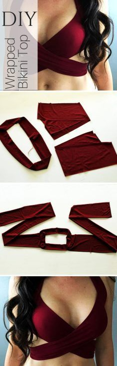 How to make a sexy DIY wrap swimsuit bikini top. This easy tutorial pattern take… How to make a sexy DIY wrap swimsuit bikini top. This easy tutorial pattern takes less than 30 minutes and is so simple to sew yourself! Diy Clothes Refashion, Diy Clothing, Sewing Clothes, Shirt Refashion, Sewing Coat, Dress Sewing, Fashion Sewing, Diy Fashion, Fashion Top