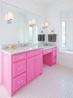 Pink Cabinets | Pink Bathroom | Bold Color | Bathroom Ideas | Bath Design | Unique Interiors
