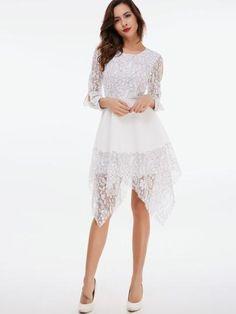 31f903fdc3 White Long Sleeve Asymmetrical Women s Lace Dress Lace Dress