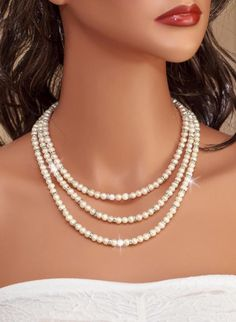 LEOLA - Freshwater Pearls and Rhinestones Double Strand Bridal Necklace 100% Handmade in USA www.OliniBridal.com