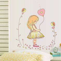 promotion wall sticker home decor Little girl balloon wall stickers for children room DIY wall decals vinyl stickers home decor