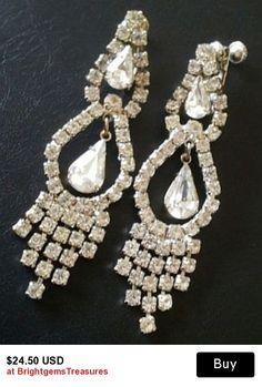 Art Deco Rhinestone Earrings Wedding Signed Pat No. Clip On Style Silver Metal 3 3/4 in Vintage