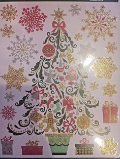 Window Clings Film Holidays Christmas Glitter Repositionable No Adhesive !