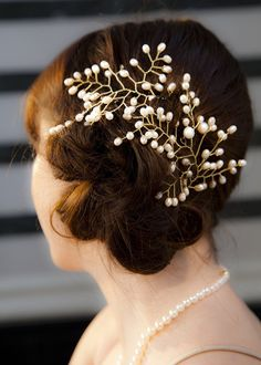 Gold Plated Pearl Hair Trellis Bridal Accessory | Anderson and Webb