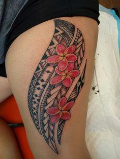 Polynesian tattoo, Melanesian tattoo, Pacific tribal, Samoan/Fijian tattoo, thigh tattoo, tattoos for women