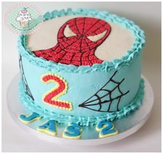 Spiderman cake are decorated with fresh whipped cream and buttercream. Buttercream Flower Cake, Cake Icing, Cupcake Cakes, Cupcakes, Spiderman Birthday Cake, Happy Birthday Cakes, Spiderman Spiderman, Fresh Cream Birthday Cake, Butter Icing Cake Designs