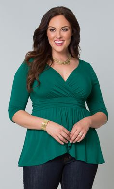Accessorize our teal plus size Haven Faux Wrap Top with gold jewelry to stay in season with this feminine, bright color.  www.kiyonna.com  #KiyonnaPlusYou  #Plussize  #MadeintheUSA  #Kiyonna