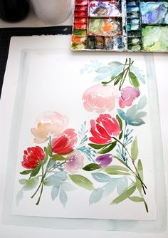 Flower bouquet watercolor painting by Yao Cheng Painting & Drawing, Watercolor Paintings, Watercolors, Peony Painting, Watercolor Trees, Watercolor Artists, Watercolor Portraits, Watercolor Landscape, Illustration Blume