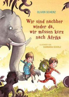 Es ist stürmisch. Es klopft an der Tür. Ein Elefant steht davor. Der möchte nach Afrika reisen, um dort seine Familie zu suchen, kennt den Weg aber nicht. Kurzerhand schnappen sich Marie und Joscha einen Globus und stürzen sich mit ihm ins Abenteuer. Was sie dabei Unglaubliches erleben, erzählt Oliver Scherz in seiner wunderbaren Art – warm und kuschelig weich, spannend und turbulent. Oliver Scherz / Barbara Scholz, Wir sind nachher wieder da, wir müssen kurz nach Afrika. Thienemann Verlag…