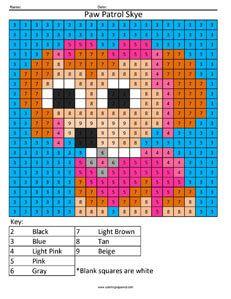 Skye- Paw Patrol- Color by Number