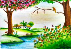Spring drawing for kids and how to draw scenery of beautiful spring season stepstep Drawing Images For Kids, Scenery Drawing For Kids, Easy Nature Drawings, Easy Drawings, Beautiful Drawings, Beautiful Paintings, Beautiful Nature Spring, Landscape Drawing Easy, Spring Drawing