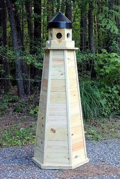 Woodworking plans for 5 ft. lawn lighthouse made entirely of pressure treated lumber. Illustrated DIY woodworking plans show you how to build a wooden lighthouse that will last a long time. Woodworking Patterns, Woodworking Furniture, Woodworking Projects, Woodworking Shop, Woodworking Magazines, Woodworking Articles, Green Woodworking, Woodworking Machinery, Woodworking Classes