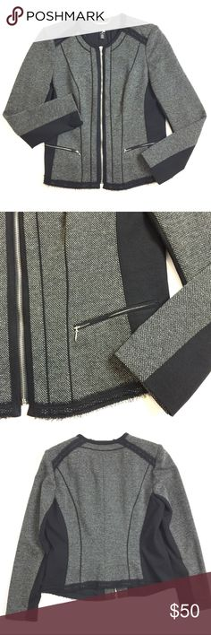 """WHBM Blazer White House Black Market Blazer in black + grey made mostly of polyester with some cotton + rayon and a length of 24.5"""", bust of 38"""". Size 14 or XL. Excellent condition. Retail $150. White House Black Market Jackets & Coats"""