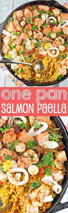 One Pan Salmon Paella:  Made with easy-to-find ingredients, this is a delicious, heart-healthy dinner choice. {Bunsen Burner Bakery} #HuntsHasHeart #ad @walmart @huntschef