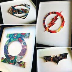 Kid birthday gift idea...Superhero Icons! each symbol is hand-cut from a single comic book page, mounted on acid-free foam core, and float mounted on board. http://spottedflats.etsy.com