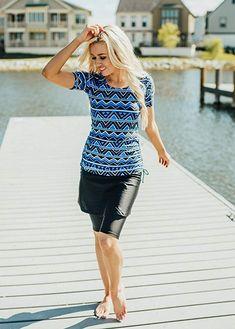 eeb7e49ac0c Amazon.com  Ella Mae Modest Swimsuit for Women with Short Sleeve Swim Shirt  and
