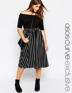 Browse online for the newest ASOS CURVE Full Midi Skirt in Stripe styles. Shop easier with ASOS' multiple payments and return options (Ts&Cs apply). Plus Size Fashion For Women, Black Women Fashion, Plus Size Womens Clothing, Womens Fashion, Size Clothing, Plus Size Skirts, Plus Size Jeans, Plus Size Outfits, Basic Fashion
